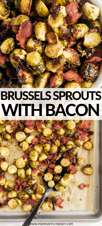 Oven roasted brussel sprouts with bacon are the perfect low carb side dishes for Thanksgiving. Simple to make keto brussel sprouts by Momma Fit Lyndsey. Maple Bacon brussel sprouts are a great variation on this recipe for a paleo brussel sprouts side dish.