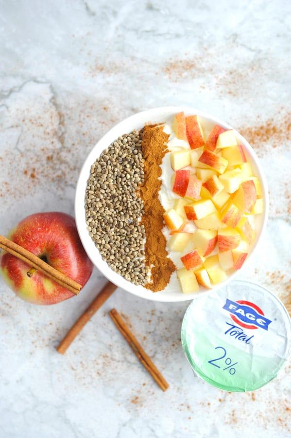 apple cinnamon roll greek yogurt recipe yogurt recipe parfait breakfast bowl for an easy high protein breakfast