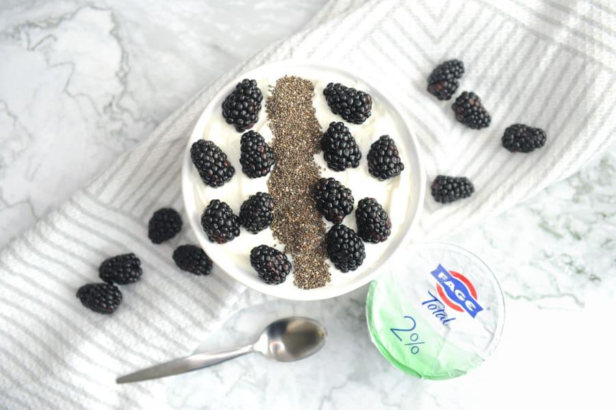 blackberry chia greek yogurt recipe parfait breakfast bowl for an easy high protein breakfast