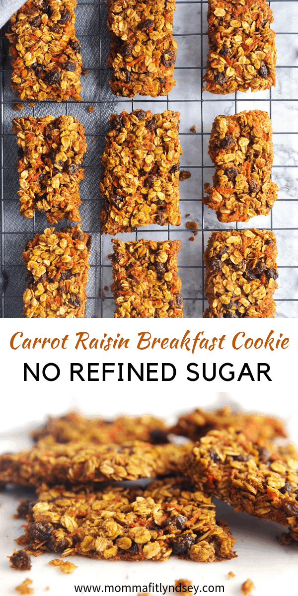 Looking for the perfect EASY breakfast cooke recipe that is lower in sugar? healthy Lifestyle Blogger Momma Fit lyndsey is sharing a simple breakfast cookie recipe that has no refined sugar