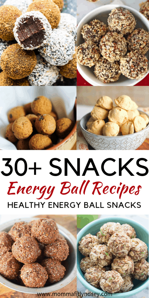 Looking for a easy snack ideas? healthy Lifestyle Blogger Momma Fit lyndsey is sharing her favorite 30+ energy ball recipes