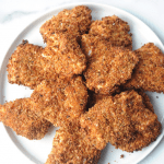 Best healthy Air Fryer crispy chicken recipe made with Parmesan cheese and chicken cutlets. healthy fried chicken for a weeknight meal that is a family friendly and kid friendly chicken recipe