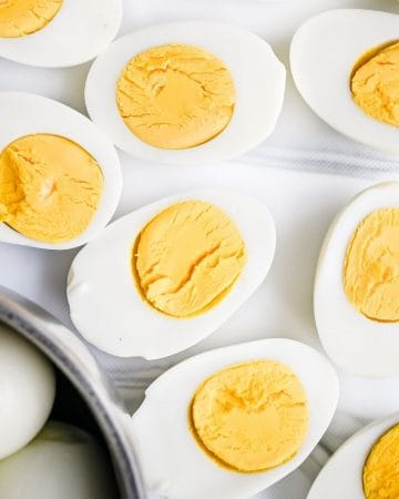hard boiled eggs on a plate made in the instant pot