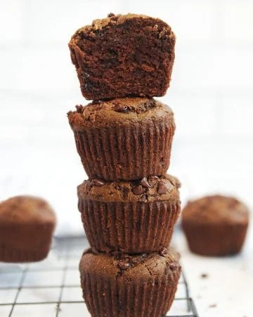 Healthy chocolate zucchini muffins made with almond flour and no butter or refined sugars. Dairy free healthy zucchini muffins your family will love!