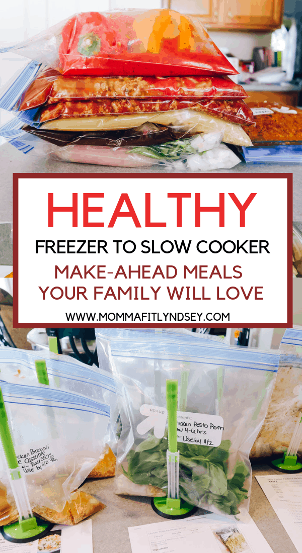 healthy make ahead freezer meals for the crockpot or slow cooker. Great ideas for new moms or busy weeknight dinners. Easy recipes for two or the family. Also can be used in the instant pot and simple for beginners. Great recipes with chicken, vegetables and more