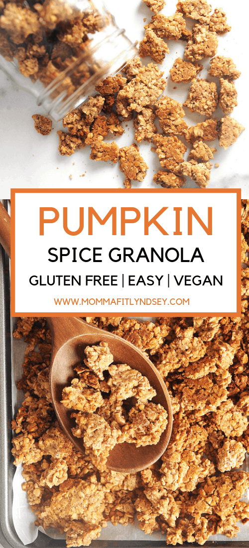 easy homemade gluten free granola recipe. great for breakfast and makes delicious clusters. healthy pumpkin spice vegan recipe