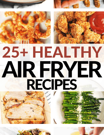 Healthy Air Fryer Recipes and Meal Ideas from Momma Fit Lyndsey. Over 25 air fryer meals for dinner, breakfast, snacks and side dishes. Many healthy air fryer recipes are heart healthy and easy to make. Recipes include air fryer chicken and chicken tenders, vegetarian air fryer recipes, air fryer shrimp and more!