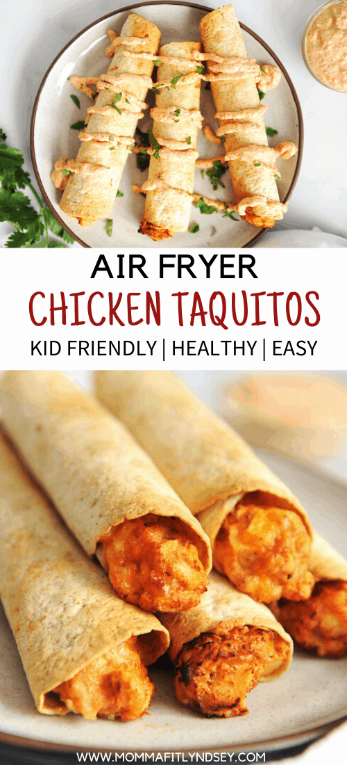 Homemade taquitos are easy to make in the air fryer!  This chicken recipe is a kid-friendly healthy recipe that is great for picky eaters.
