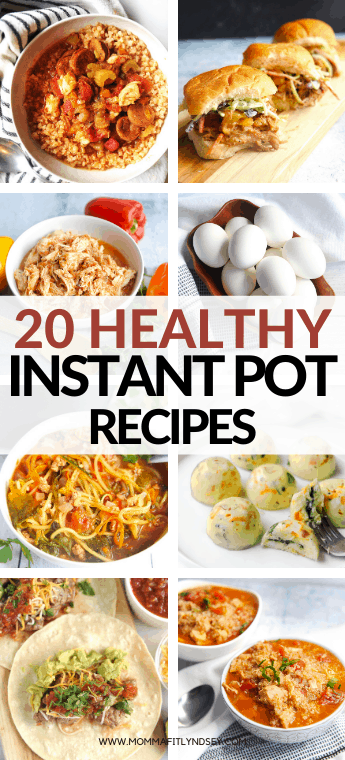 Over 20 healthy instant pot recipes for clean eating and low carb diets. The best easy recipes from Momma Fit Lyndsey to make in your Instant Pot or pressure cooker. Recipes include chicken, soup, vegetarian, beef and more! Gluten free quick recipes to make in your instant pot.