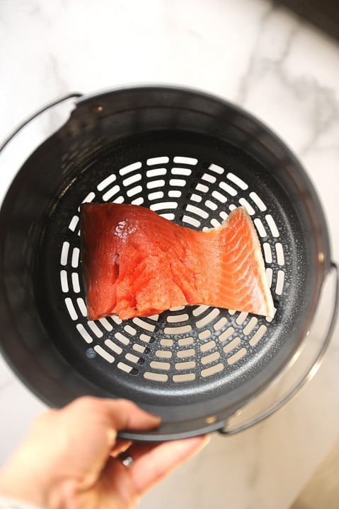 salmon cooked in the air fryer