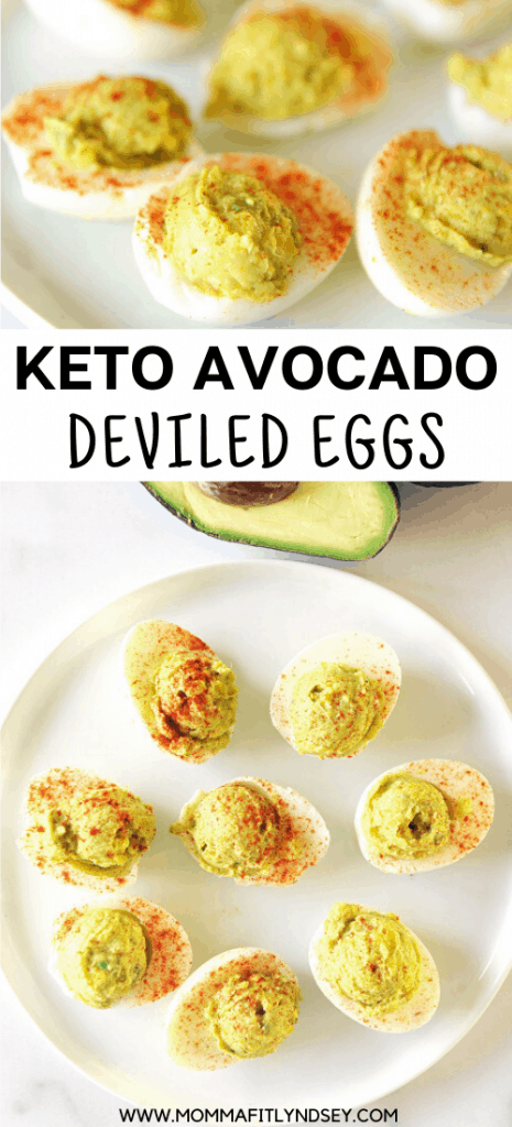 Keto deviled eggs with avocado are a delicious snack!  These low carb deviled eggs are an easy-to-make clean eating recipe with simple, whole food ingredients.