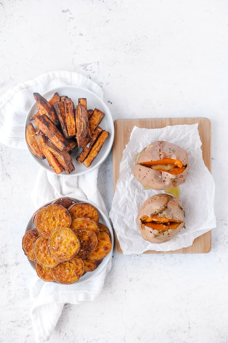 three types of sweet potatoes made in the air fryer