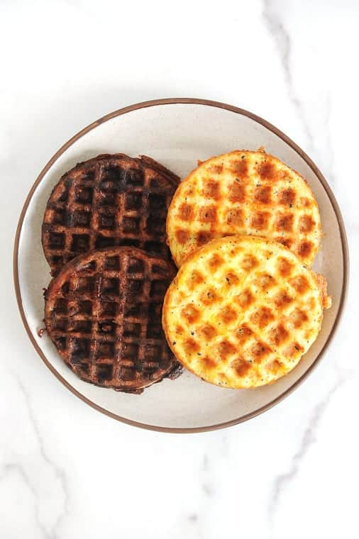 This chaffle recipe is the perfect low carb breakfast! These chaffles are both sweet and savory and totally keto friendly! The best recipe for a quick keto chaffle and the best chaffle maker forunder $10!