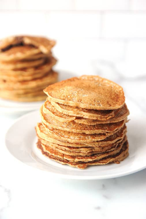 how to make healthy oat flour pancakes. Easy to make recipe that can be made vegan and dairy free