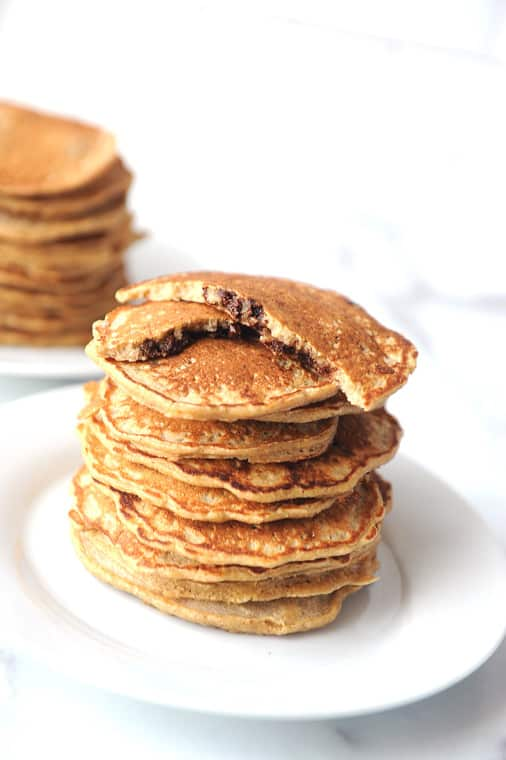 how to make healthy oat flour chocolate chip pancakes. Easy to make recipe that can be made vegan and dairy free