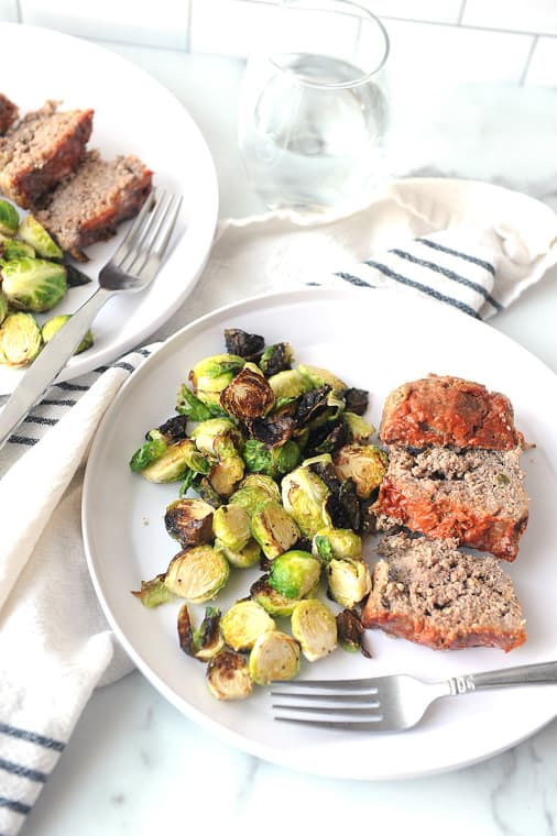 roasted brussel sprouts and meatloaf