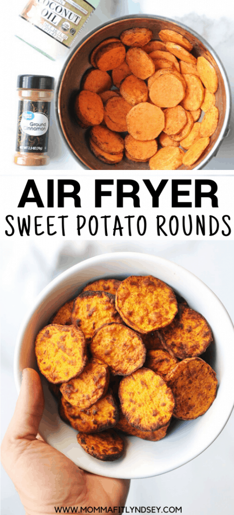 Air fryer sweet potato slices are a delicious side dish your family will love.  These are crispy sweet potato rounds made in the air fryer, with only a bit of healthy oil!