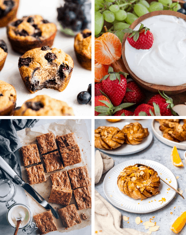 healthy brunch ideas for sweet breads, muffins, dips and fruit to serve for brunch or Easter dinner