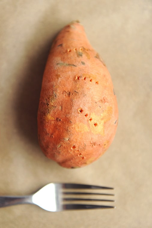 One thing that is the same no matter what way you cook your sweet potatoes, you need to clean and poke holes in them first!  Cleaning sweet potatoes with a food scrub brush helps you to keep the nutrient-dense skin.   Poking holes in your sweet potatoes helps the steam to escape during cooking.