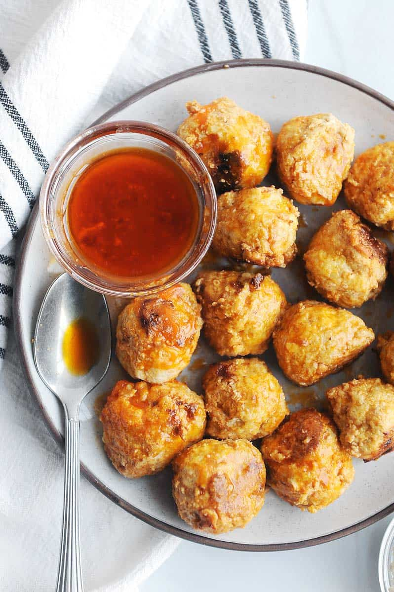 plate of instant pot buffalo chicken meatballs