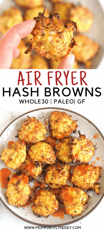 air fryer hash browns made with shredded potatoes into patties. Homemade from fresh or frozen potatoes. Whole30 hash browns and Paleo hash browns. Great gluten free hash brown recipe that is great to serve with eggs.