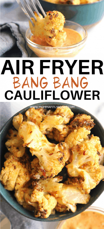 air fryer bang bang cauliflower recipe that is keto, vegan and healthy. Crispy, spicy and delicious with classic asian flavors.