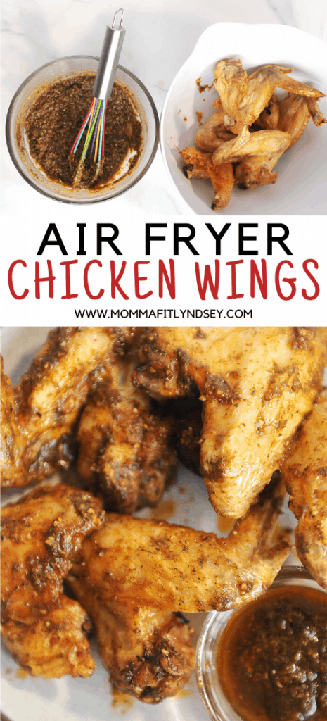 whole30 air fryer chicken wings with delicious garlic ranch sauce. Buffalo, bbq and ranch flavors for these crispy chicken wings made in the ninja foodi. Low carb and keto chicken wings that are crispy and made in the air fryer