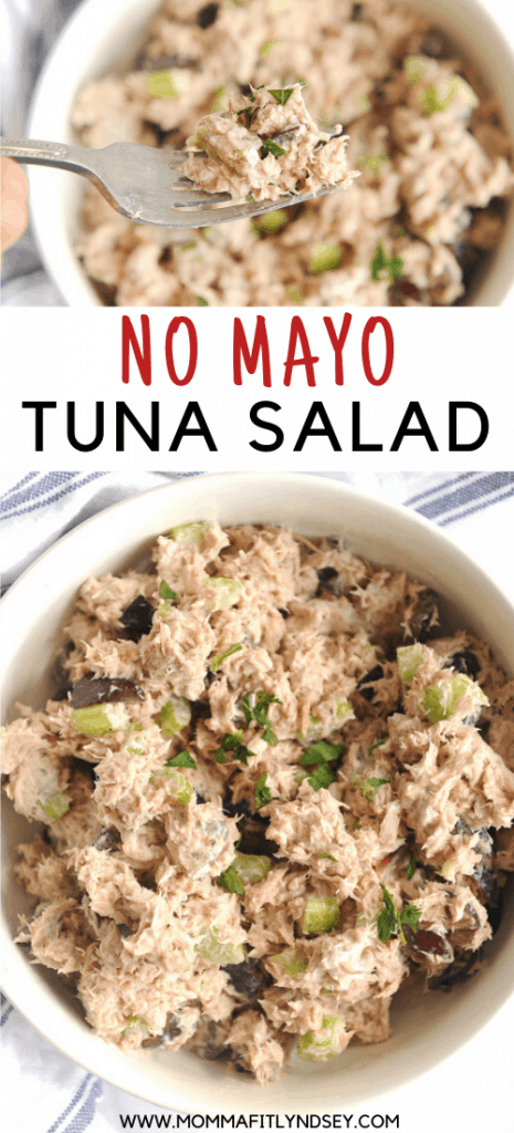 No Mayo Tuna Salad with Greek Yogurt is a healthy lunch idea for clean eating diet. Perfect to pair with olive oil over a salad or with low carb lettuce wraps