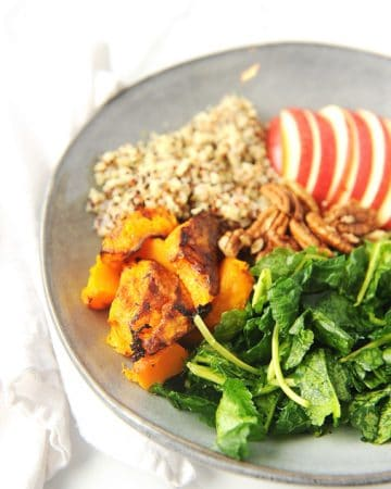 Air Fryer Butternut Squash is easy to make to include in delicious fall salads including my delicious fall harvest quinoa salad with apples, quinoa and kale