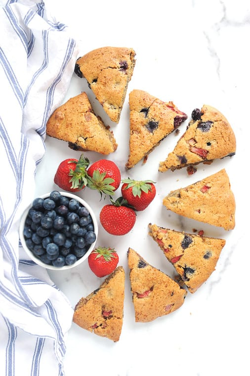Almond Flour scones recipe with blueberries and strawberries. These Keto almond flour scones are low carb and easy to make and totally gluten free.