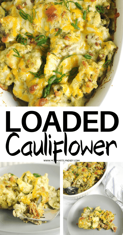 healthy loaded cauliflower casserole that is keto and low carb. Easy to make for a family friendly low carb dinner or side dish