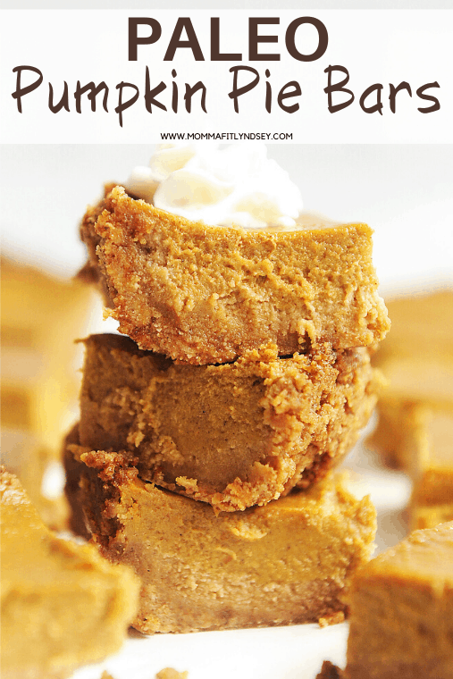 paleo pumpkin pie bars recipe made with almond flour crust. Gluten free and easy to make for your Thanksgiving crowd!
