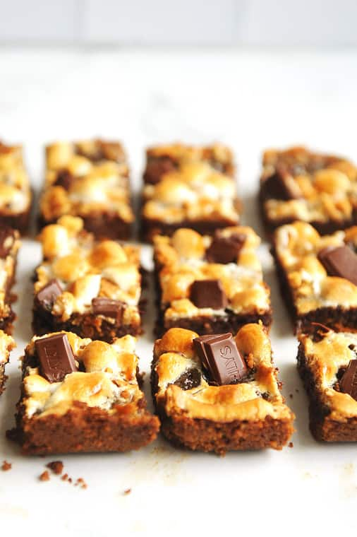 Vegan smores bars that are healthy and easy to make. Gooey smores recipe for a dairy free smores dessert made with graham crackers and vegan chocolate chips