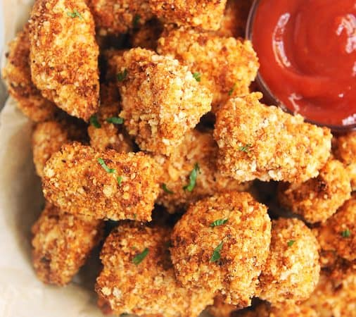 Healthy air fryer chicken nuggets that are crispy and easy to make! Better than Chick Fil A homemade chicken nuggets recipe with panko breadcrumbs.