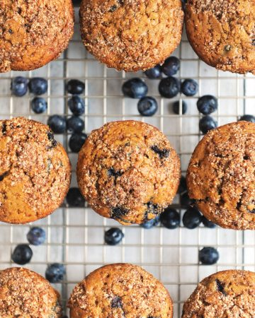 Healthy blueberry muffins made with coconut sugar. Gluten free blueberry muffins with crumb topping are an easy homemade blueberry muffin recipe. The best recipe for moist blueberry muffins made with fresh blueberries. Dairy free blueberry muffins similar to Jordan Marsh blueberry muffins with no refined sugar.