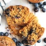Fluffy Blueberry Muffins with Crumb Topping are made with no refined sugar!  Healthy blueberry muffins are gluten free and perfect for an easy breakfast.