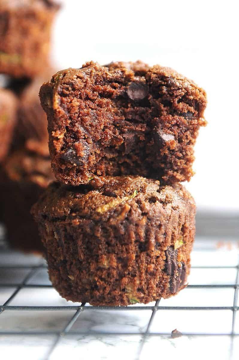 stack of healthy chocolate zucchini muffins