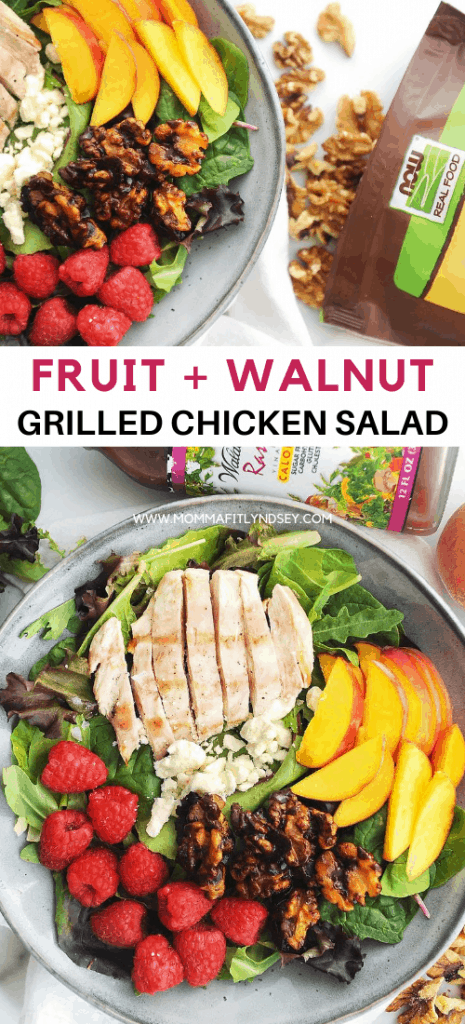 grilled chicken salad with fruit. Fresh summer salad that is healthy and light made with grilled chicken, raspberries and peaches.
