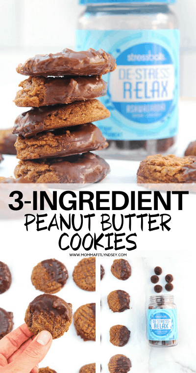 #ad easy and healthy 3 ingredient peanut butter cookies with no refined sugar