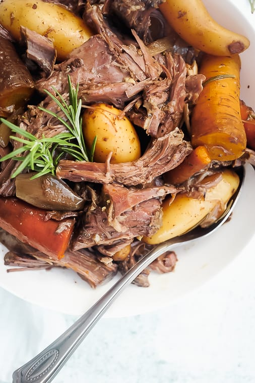 The best Whole30 pot roast to make in the slow cooker or crockpot. Easy pot roast recipe with simple seasonings that your entire family will love!