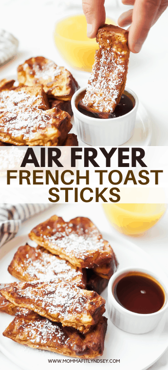 air fryer french toast sticks recipe that is healthy with organic ingredients and no refined sugar! Easy to make ahead and air fry frozen french toast sticks