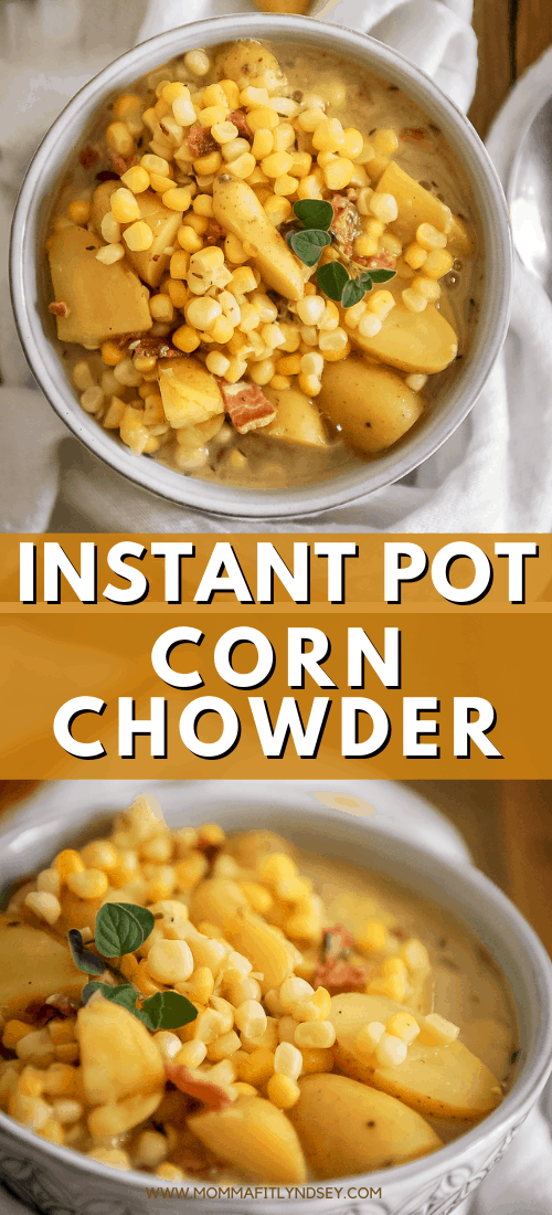 Healthy Instant Pot Corn Chowder made dairy free with bacon. Easy soup recipe that is a great make ahead soup to freeze.