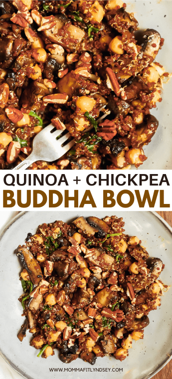 This Instant Pot Quinoa Power Bowl is full of nourishing ingredients like quinoa, chickpeas, spinach and mushrooms! Momma Fit Lyndsey brings you a chickpea vegan buddha bowl that is easy to make with instant pot quinoa and veggies. Delicious healthy lunch recipe for clean eating and plant based lunch ideas.