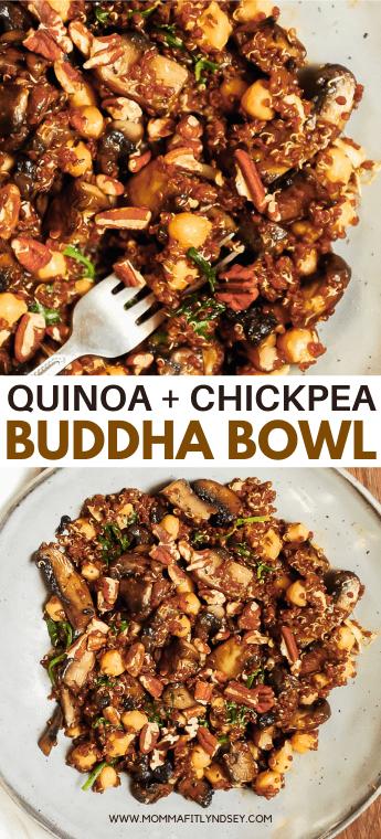 Ce Power Bowl Instant Pot Quinoa regorge d'ingrédients nourrissants comme le quinoa, les pois chiches, les épinards et les champignons!  Momma Fit Lyndsey vous propose un bol Bouddha végétalien aux pois chiches facile à préparer avec du quinoa et des légumes en pot instantané.  Délicieuse recette de repas santé pour une alimentation saine et des idées de repas à base de plantes.
