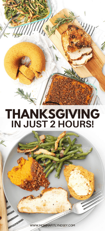 Simple + Small Thanksgiving Dinner for 2 or 4, done in just 2 hours. Menu ideas for an easy thanksgiving dinner table including sides and recipe ideas for turkey breast and cornbread.