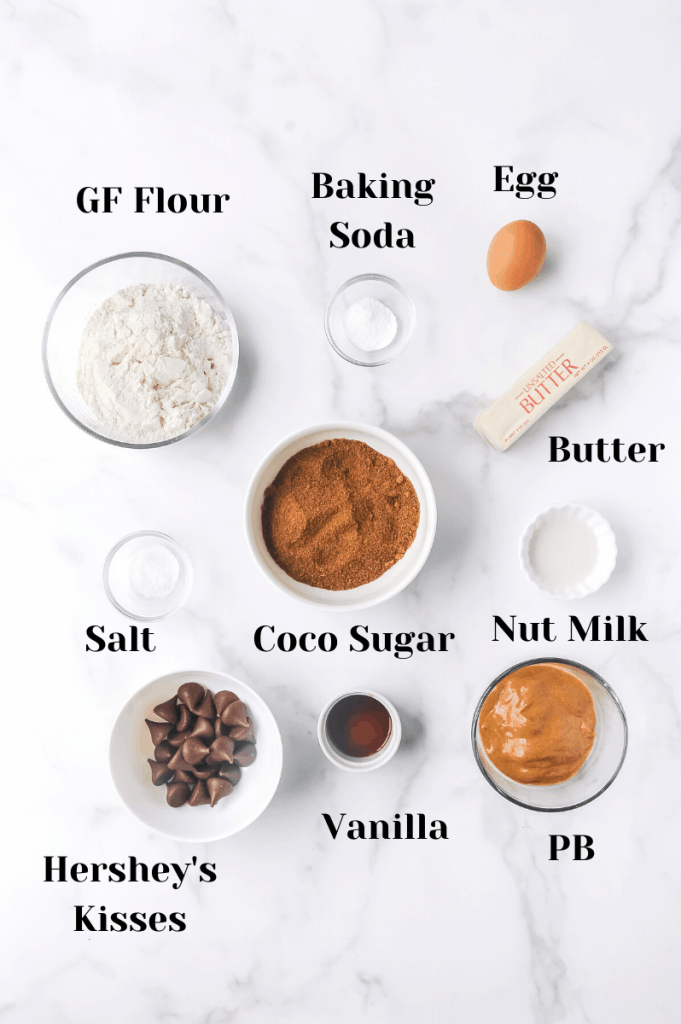 ingredients for gluten free peanut butter blossoms