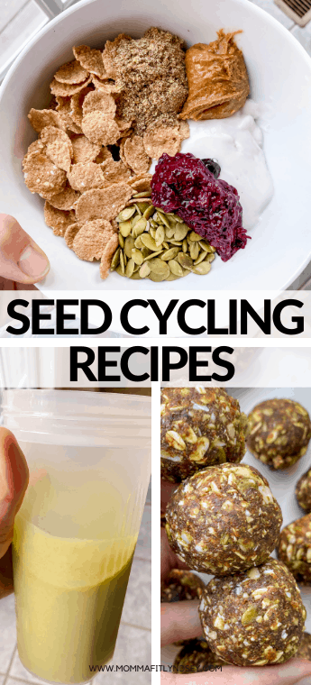 seed cycling recipes for hormone health. Breakfast bowls, smoothies and energy bites for the luteal phase and other phases. Gluten free seed cycling recipes for energy balls with dates and other healthy ingredients.