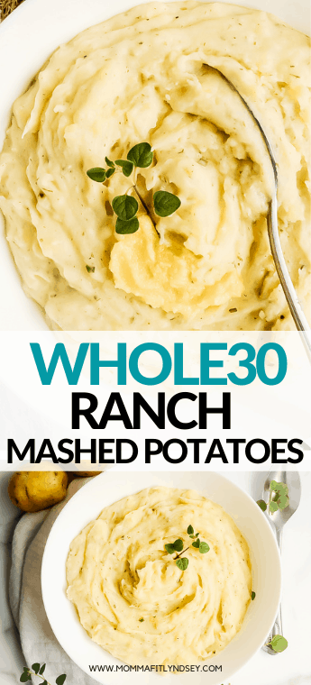 Whole30 Mashed Potatoes made with coconut milk and ghee are a delicious healthy mashed potato recipe. Momma Fit Lyndsey shares her easy whole30 potato recipe that is great as a healthy Thanksgiving side dish or complement to any Whole30 dinner recipe.
