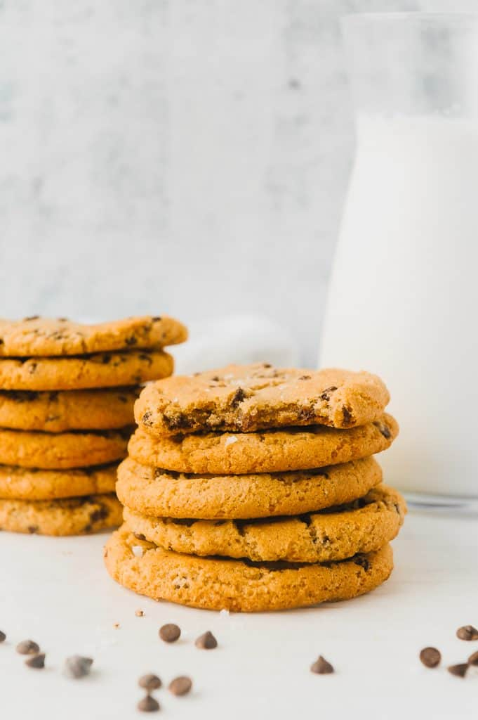 stacks of cookies with milk