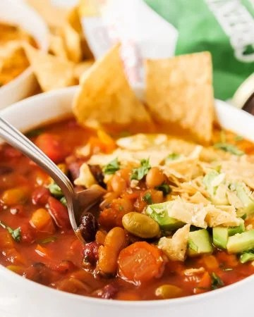 Instant Pot Spicy Southwestern Veggie Chili is the perfect cozy bowl to warm you up this fall and winter! Made with hearty vegetables and deliciousGreen Mountain Gringo® Medium Salsa, this hearty meal is perfect for Meatless Monday, or any night of the week!